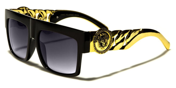 Kleo Gold Cuban Link Chain Lion Head Medallion Square Flat Top Luxury Sunglasses