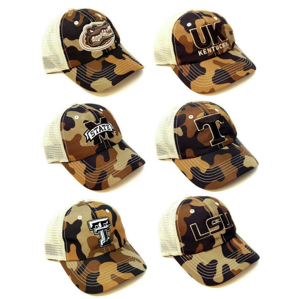 NCAA Brown Woodland Camo Tan Mesh Trucker Adjustable Curved Bill Hat