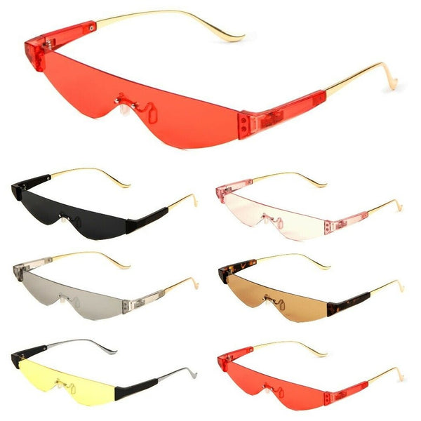 Cyber Futuristic Slim Rimless Shield One Piece Mono Lens Retro Sunglasses