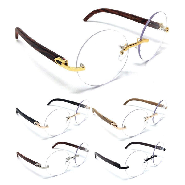 Luxe Diplomat Rimless Round Metal & Wood Eyeglasses / Clear Lens Sunglasses