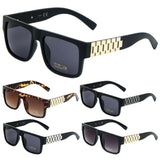 Watch Band Link Chain Square Luxury Sunglasses w/ Tinted Lenses