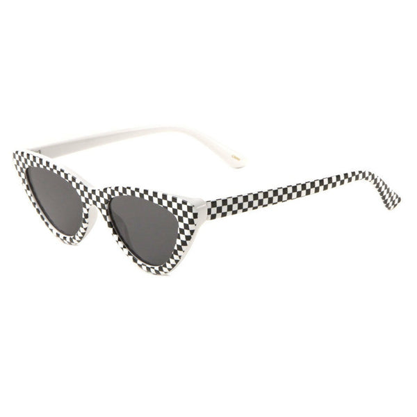 Checkered Cat Eye Womens Plastic Frame 50's Vintage Retro Sunglasses