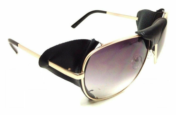 Retro Aviator Sunglasses w/ Faux Leather Bridge & Side Shields
