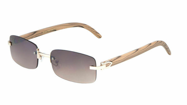 Dean Slim Rimless Rectangular Metal & Faux Wood Luxury Sunglasses