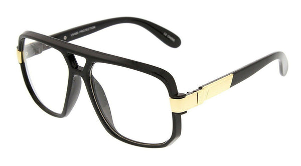 Gazelle Swag Square Oversized Hip Hop Luxury Sunglasses w/ Clear Lenses