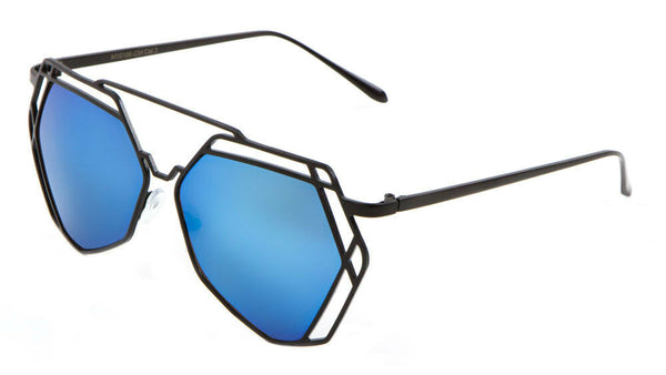 Geometric Lattice Wire Metal Frame Futuristic Aviator Luxury Sunglasses