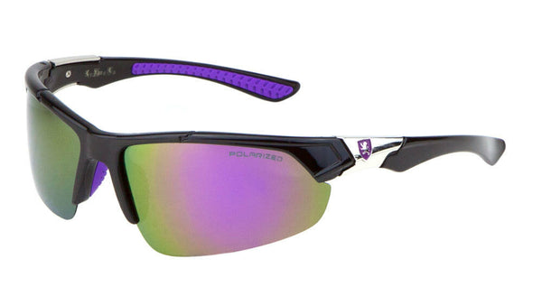 Khan Polarized Semi Rimless Sport Wrap Around Sunglasses