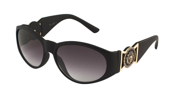 Kleo Oval Gold Lion Head Medallion Buckle Retro Luxury Sunglasses
