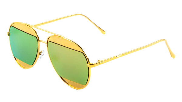 Luxe Fashion Split Half Lens Aviator Sunglasses