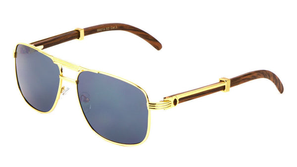 Luxe Executive Metal & Faux Wood Aviator Sunglasses