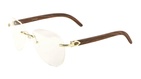 Marshal Rimless Metal & Faux Wood Luxury Aviator Sunglasses w/ Clear Lenses