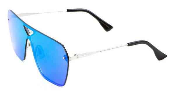 Oversized Rimless Square Flat Top One Piece Shield Lens Aviator Sunglasses