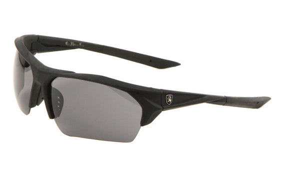 Khan Soft Rubber Semi Rimless Sport Wrap Around Sunglasses