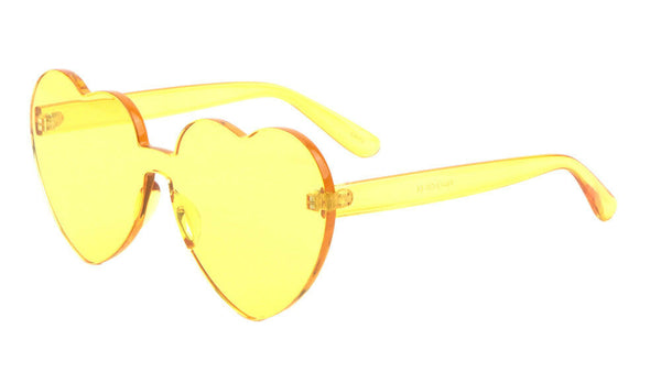 Thick Bold Oversized Lolita Heart Shaped Rimless Mono One Piece Shield Lens Sunglasses