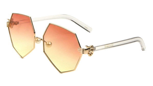 Geometric Oversized Pearl Nose Pad Clown Hand Hinge Aviator Sunglasses