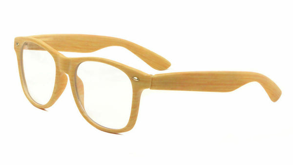 Classic Faux Bamboo Wood Print Square Retro Sunglasses w/ Clear Lenses