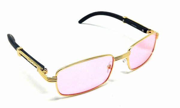 Apprentice Slim Rectangular Metal & Faux Wood Luxury Sunglasses