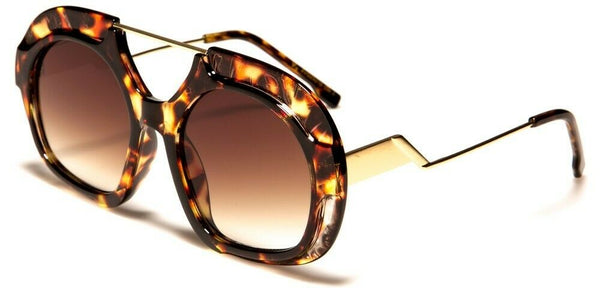 Fancy Thick Bold Trendy Oversized Elegant Round Circle Lens Sunglasses
