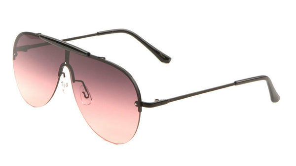 Shield Outdoorsman Floating Flat Lens Aviator Sunglasses w/Brow Bar
