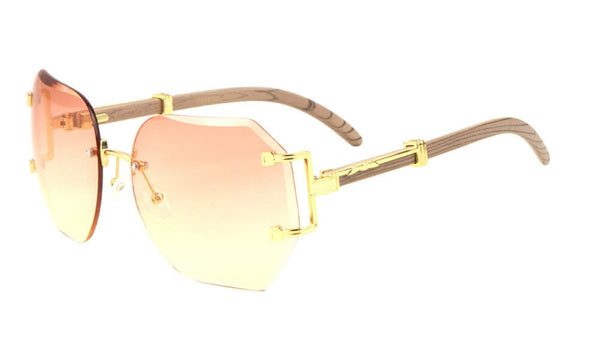 Socialite Womens Oversized Metal & Faux Wood Rimless Beveled Square Luxury Sunglasses