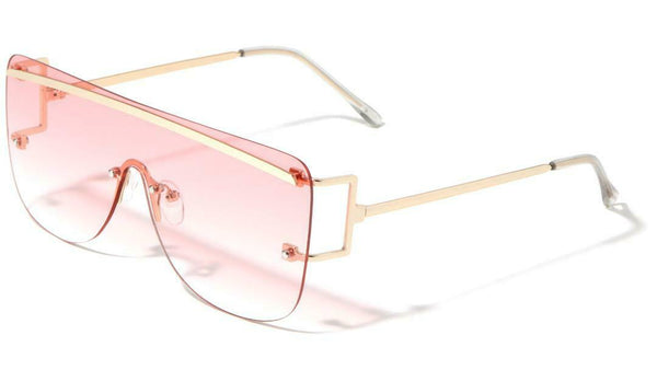 Flat Top Rimless Square Shield Aviator One Piece Lens Luxury Sunglasses