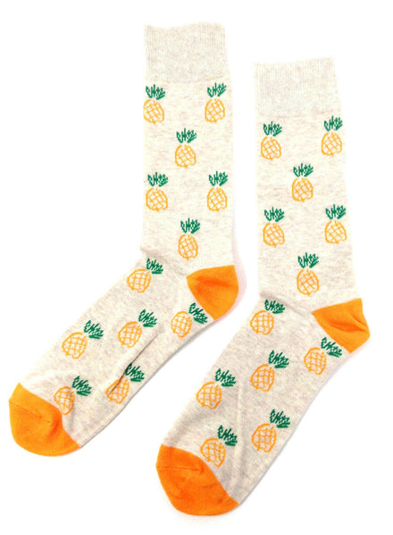 Fine Fit Casual Novelty Pineapple Summer Fruit Tropical Pattern Knit Crew Socks