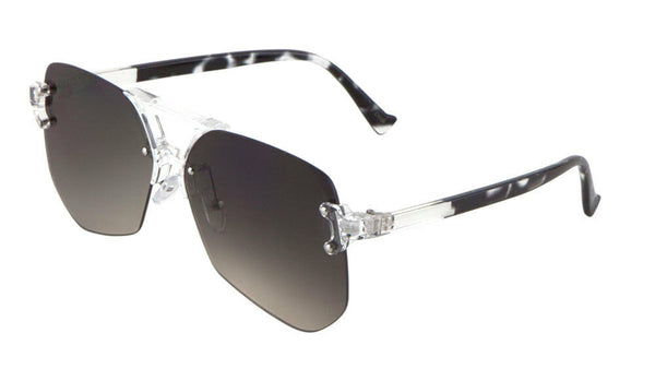 Wynwood Oversized Rimless Square Geometric Luxury Aviator Sunglasses