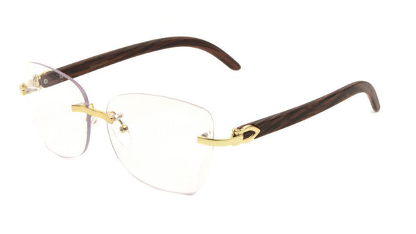 Debutante Womens Rimless Metal & Wood Eyeglasses / Clear Lens Sunglasses