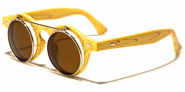 Flip Up Round Metal & Faux Wood Frame Steampunk Sunglasses