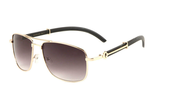 Associate Metal & Faux Wood Square Aviator Luxury Sunglasses