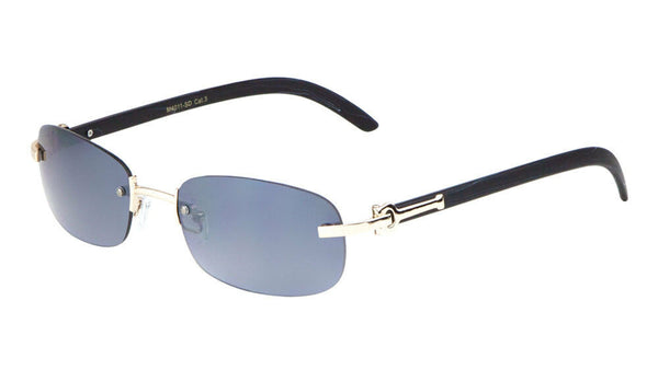 Dapper Rimless Oval Rectangular Metal & Faux Wood Sunglasses