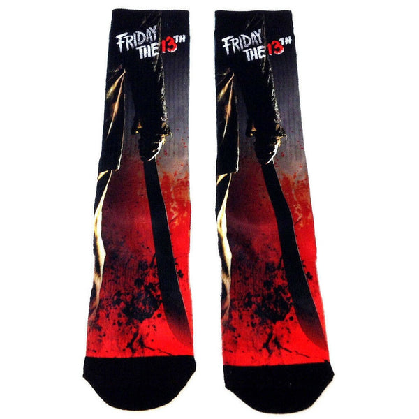 Friday The 13th Jason Voorhees Machete Splatter Premium Sublimated Mens Crew Socks