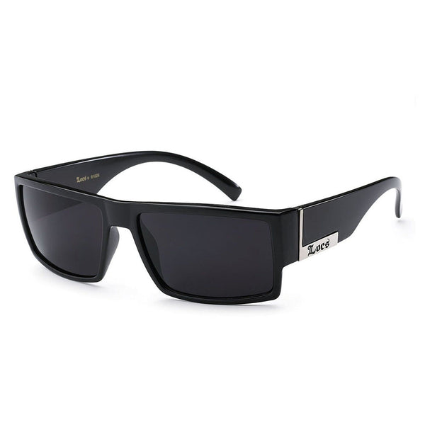 Locs Black Square Flat Top Sunglasses - Black Lenses