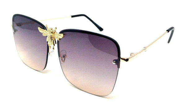 3D Killer Bee Luxury Hip Hop Half Rim Square Aviator Sunglasses