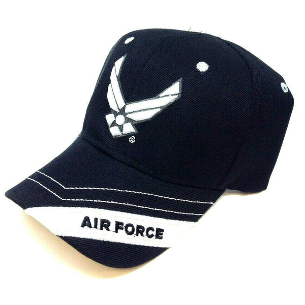 United States Air Force 3D Wings Logo Stripe Black Adjustable Hat