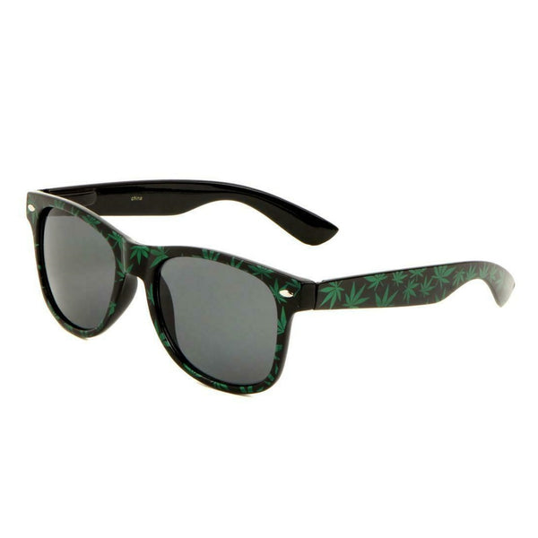 Black & Green Marijuana Weed Leaf Square Sunglasses - Black Lenses