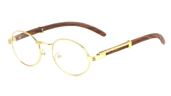 Scholar Luxury Oval Metal & Wood Eyeglasses / Clear Lens Sunglasses