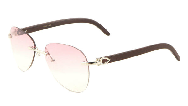 Marshal Rimless Metal & Faux Wood Luxury Aviator Sunglasses
