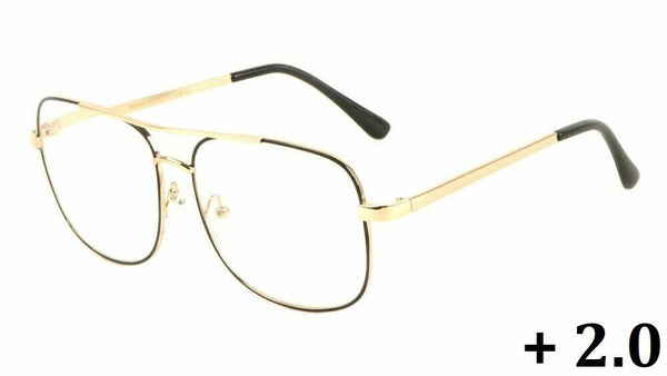 Elite Classic Casual Square Luxury Aviator Readers Reading Glasses