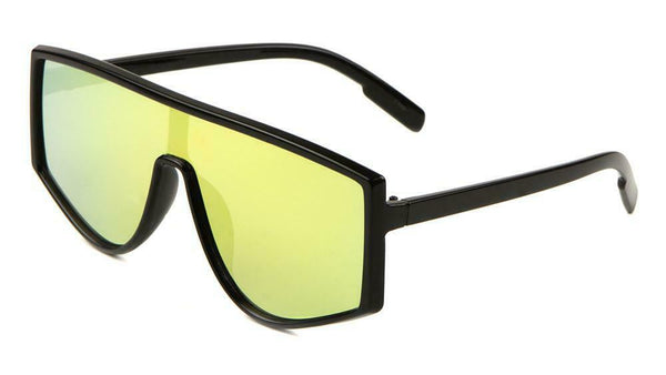 Flat Top Shield One Piece Lens Wrap Around Sunglasses