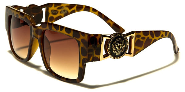 Kleo Square Gold Lion Head Medallion Buckle Retro Luxury Sunglasses