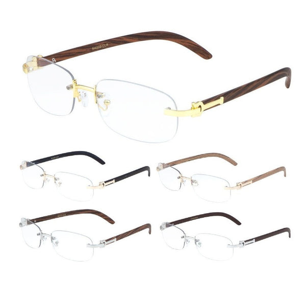 Dean Slim Rimless Metal & Wood Eyeglasses / Clear Lens Sunglasses - Frames