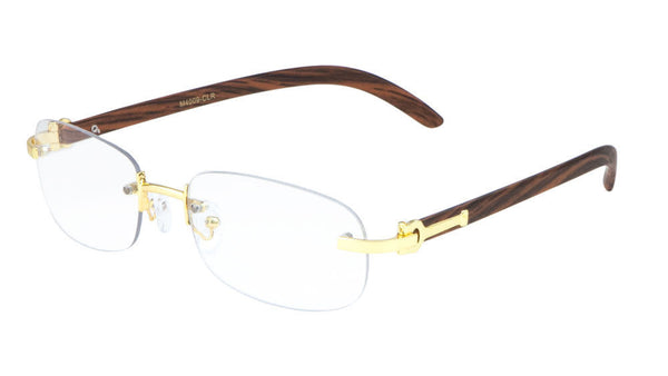 Dean Slim Rimless Metal & Faux Wood Eyeglasses / Clear Lens Sunglasses - Frames