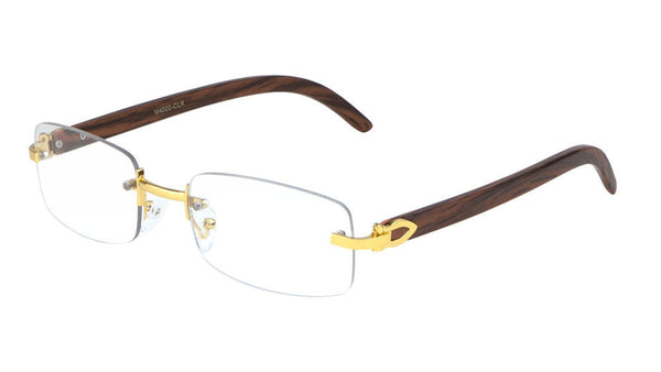 Dapper Rimless Rectangular Metal & Wood Eyeglasses / Clear Lens Sunglasses - Frames