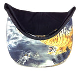 Black Sublimated Print Bill Strapback Hat