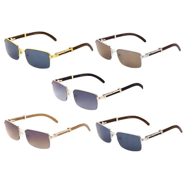 Executive Slim Half Rim Rectangular Metal & Faux Wood Aviator Sunglasses