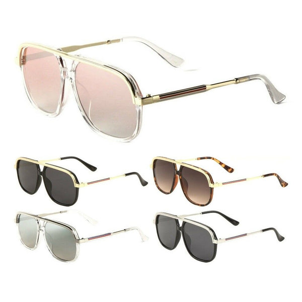 Apex Square Classic Retro Flat Top Aviator Sunglasses
