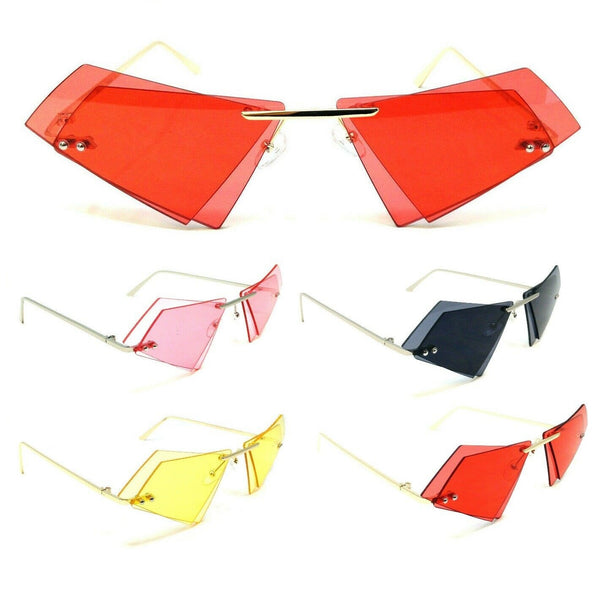 Women's Rimless Double Lens Cat Eye Triangle Sunglasses
