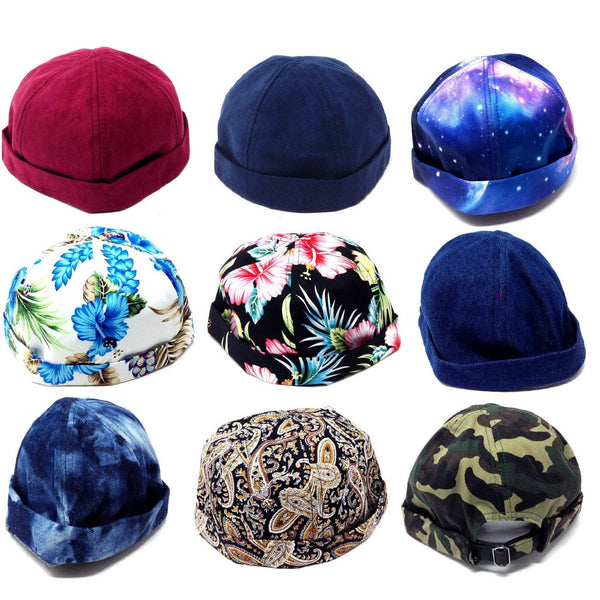 6 Panel Docker Hat Brimless Adjustable Cap