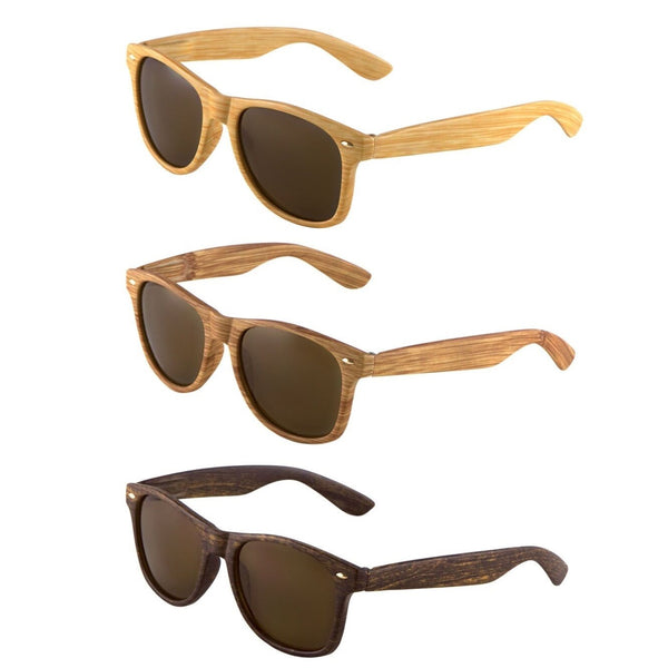 Faux Bamboo Wood Print Classic Square Retro Sunglasses